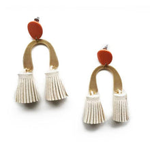 The Woods Candid Art Oakland Jewelry Lola earrings tassle brass vegan leather white