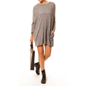 shop the woods Audrey Olive 3+1 maternity clothes dolman sleeve sweater dress pockets