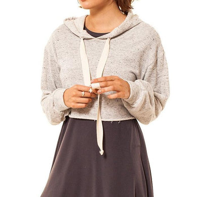 shop the woods Audrey and Olive maternity clothes 3+1 crop cropped hoodie sweatshirt light grey