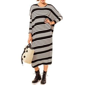 SHOP THE WOODS Audrey Olive Maternity striped maxi dolman sleeve t-shirt tee dress black white 3+1