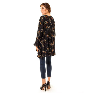 shop the woods Audrey Olive Maternity boho dandelion floral swing top dress navy blue 3+1