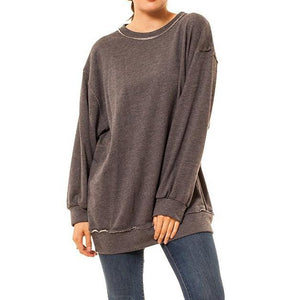 shop the woods Audrey and Olive 3+1 maternity clothes oversized distressed crew neck sweatshirt