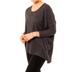 shop the woods Audrey and Olive 3+1 maternity clothes soft slouch slug pocket sweater dolman sleeves charcoal grey