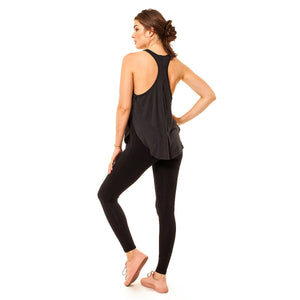 shop the woods Audrey and Olive 3+1 maternity clothes ribbed stretchy racer back tank top with split sides in pink or black