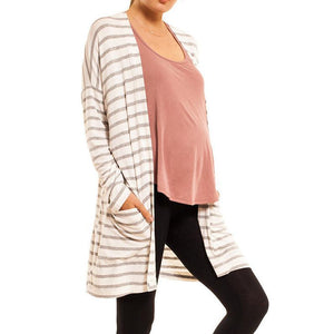 shop the woods Audrey Olive Maternity striped open cardigan sweater kimono 3+1