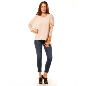 shop the woods Audrey and Olive 3+1 maternity clothes lightweight ribbed dolman sleeve sweater in pink blush
