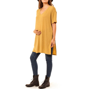 shop the woods Audrey and Olive 3+1 maternity clothes oversized long t-shirt tee with side split mustard yellow