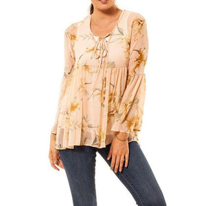 shop the woods Audrey and Olive 3+1 maternity clothes chiffon peach cream floral bell sleeves top