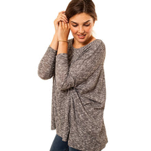 shop the woods Audrey and Olive 3+1 maternity clothes soft slouch sweater dolman sleeves speckled black white grey