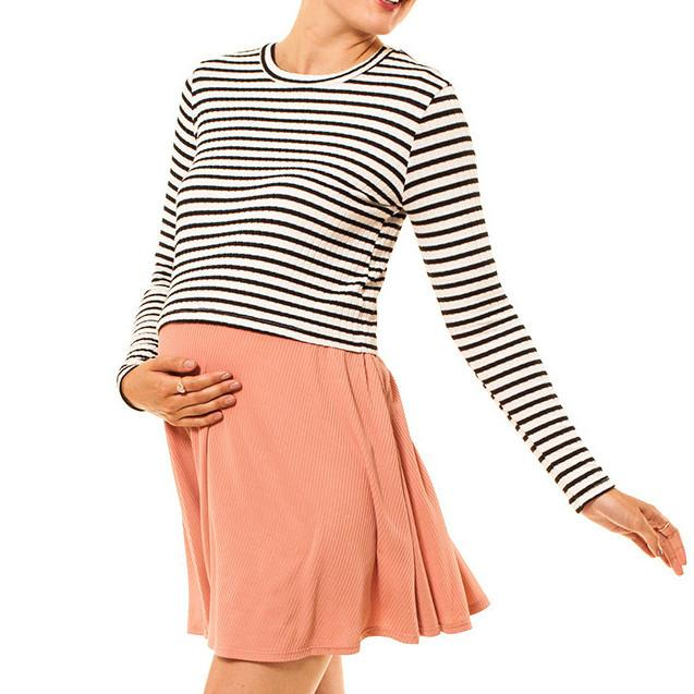 shop the woods Audrey Olive 3+1 maternity clothes striped long sleeve cropped t-shirt tee