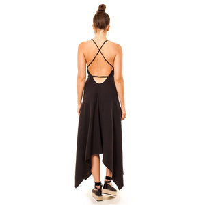 shop the woods Audrey and Olive 3+1 maternity clothes string halter top dress in black cotton gauze handkerchief hem