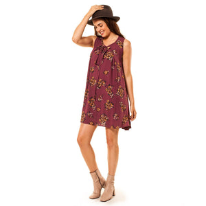 shop the woods Audrey and Olive maternity clothes 3+1 boho floral sleeveless swing dress a-line burgundy bow