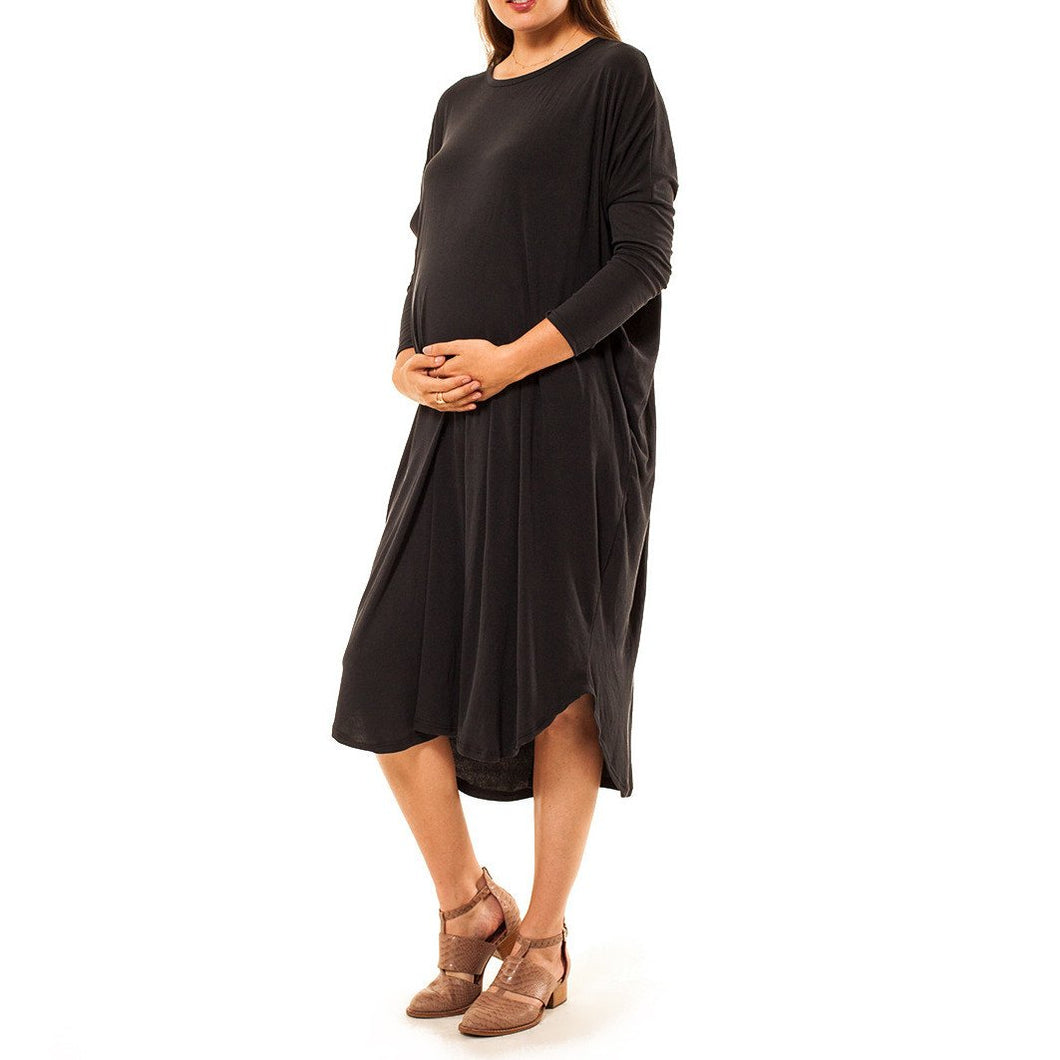 shop the woods Audrey and Olive maternity ribbed midi dress grey