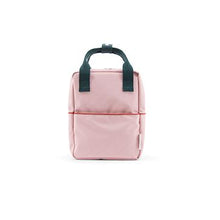 The Woods Sticky Lemon corduroy small backpack recycled plastic bottles sustainable soft pink