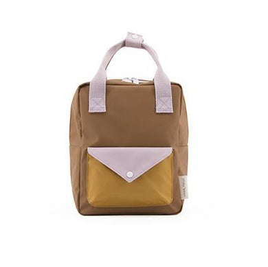 The Woods Sticky Lemon envelope small backpack recycled plastic bottles sustainable brown sugar violet purple caramel fudge