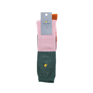 The Woods Sticky Lemon knee high socks glitter color block soft pink