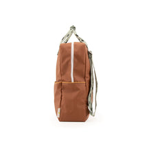 The Woods Sticky Lemon Sprinkles small backpack recycled plastic bottles sustainable cinnamon brown sage green cantaloupe orange