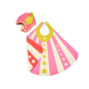 vThe Woods Lovelane Designs kids childrens costume hero cape cap hat set reversible pink red stars stripes