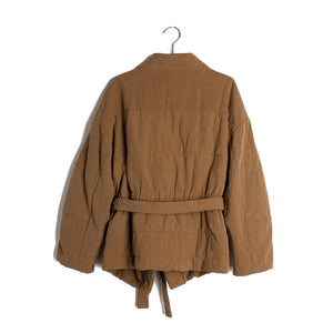 The Woods Mod Ref columbia jacket quilted kimono wrap coat brown sienna earth