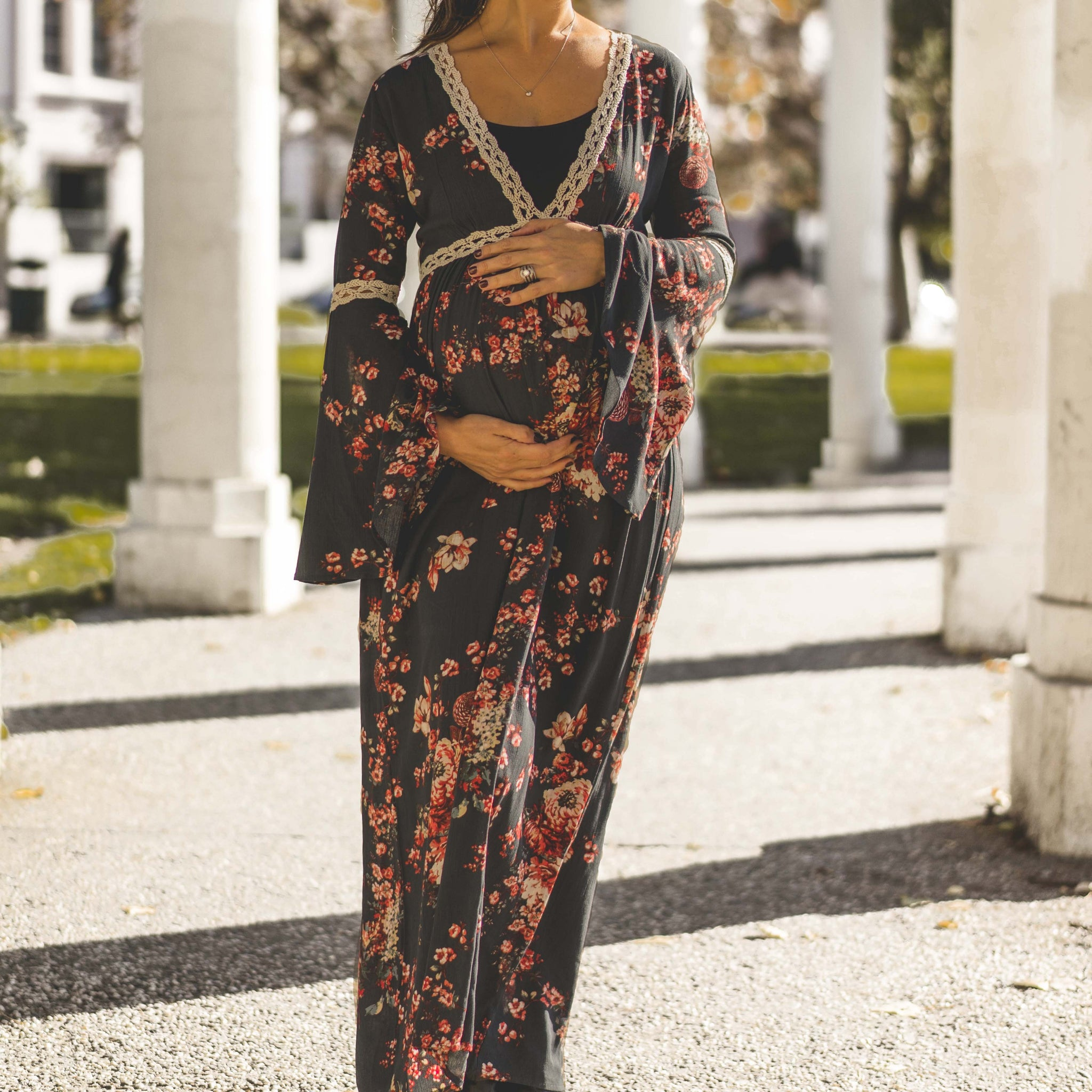 7afd35477ed ... Audrey and Olive maternity floral boho bohemian bell sleeve maxi dress  grey