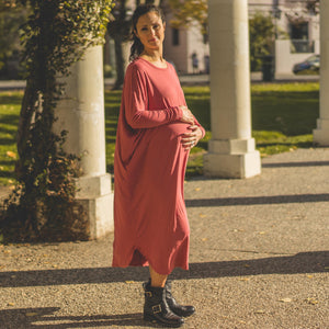 shop the woods Audrey and Olive maternity ribbed midi dress pink