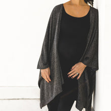 Audrey and Olive maternity knit open poncho cardigan sweater black charcoal grey