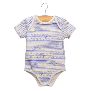 shop the woods wander and wonder sea bird cream blue baby onesie romper