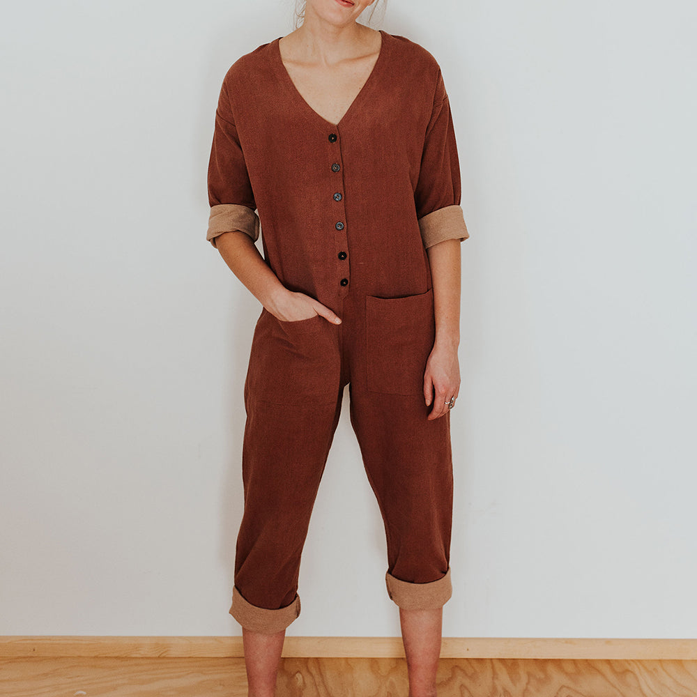 The Woods Happy French Gang jumpsuit terracotta himalayan Teracotta mauve pink natural dye sustainable cotton nursing maternity