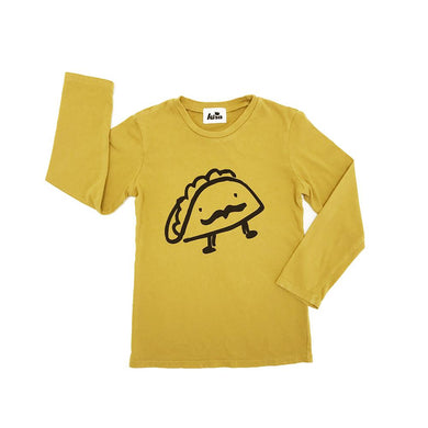 Kira kids mustard yellow taco long sleeved tee t-shirt shirt baby babies audrey and olive maternity clothes shop the woods san francisco