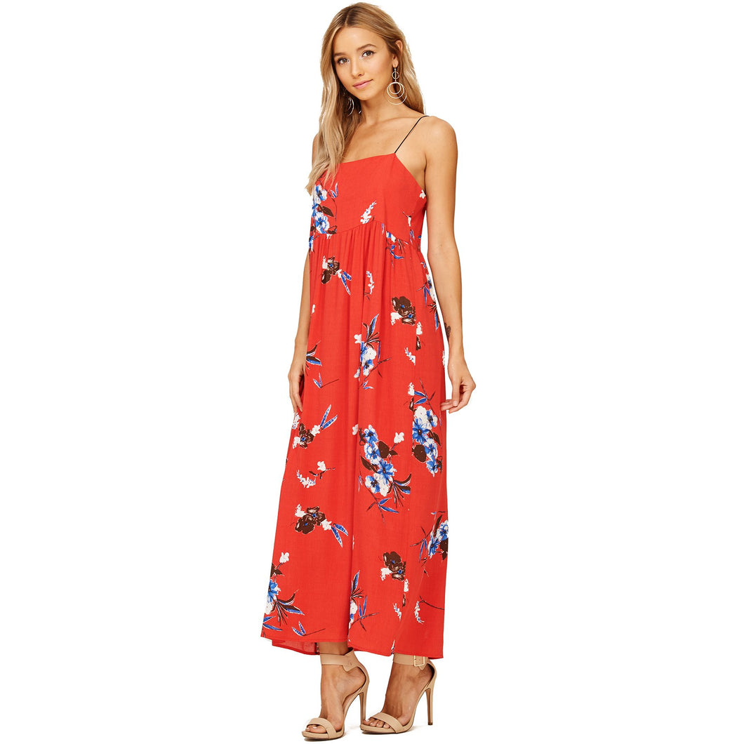 Audrey and Olive maternity red floral string top maxi dress