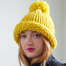 The Woods Loopy Mango DYI merino all you knit hat kit gift box sunshine yellow