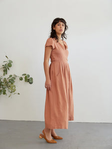 The Woods Sugar Candy Mountain Angela jumpsuit linen wrap clay pink rose sienna blush