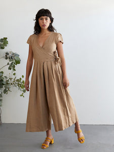The Woods Sugar Candy Mountain Angela jumpsuit linen wrap barley brown tan beige
