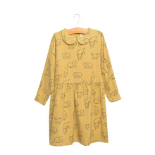 shop the woods kids girls baby wander and wonder miho dress peter pan collar maple cat yellow mustard marigold gold audrey and olive