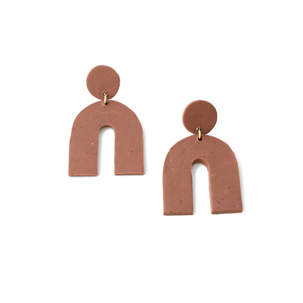 The Woods Brooke Creative Co clay polymer wood earrings arch burnt sienna red clay