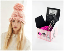 The Woods Loopy Mango DYI merino all you knit hat kit gift box bubblegum pink
