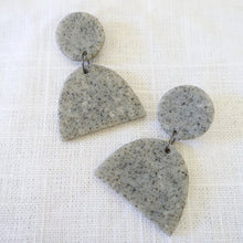 THE WOODS Hey Moon Designs Aries earrings clay polymer granite grey