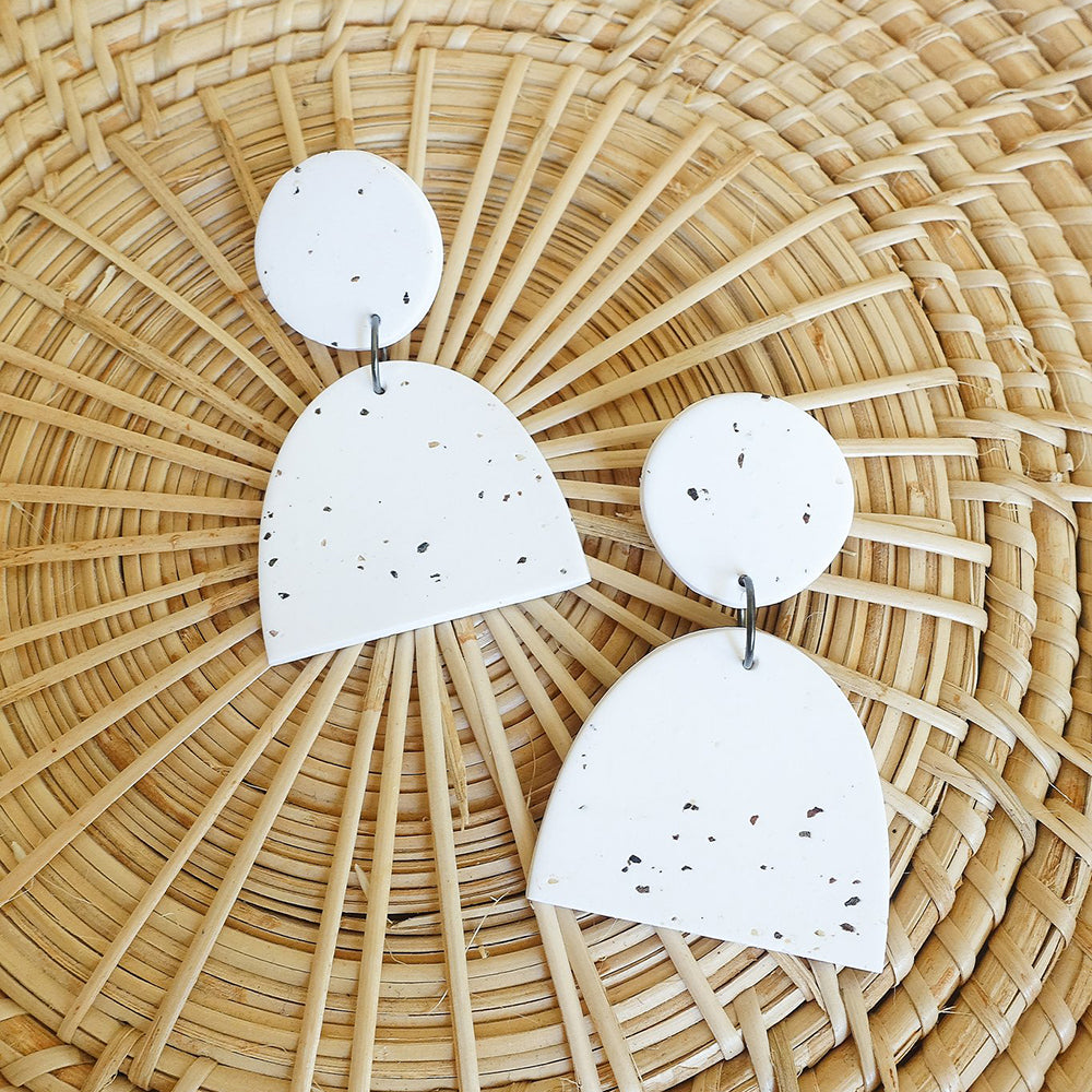THE WOODS The Moon Designs Aries earrings clay polymer speckled white storm