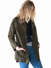 Maternity military rose floral embroidery embellished khaki oversized jacket coat by Audrey and Olive clothing