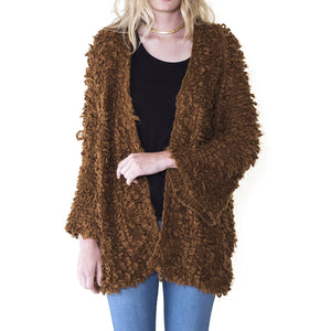 Audrey and Olive 3+1 maternity clothes oversized furry open cardigan sweater bell sleeves