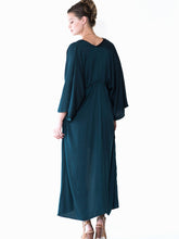 Aylen kaftan kimono in gem-toned turquoise by Audrey and Olive stylish maternity clothes