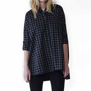 audrey and Olive 3+1 maternity clothes oversized plaid flannel shirt dress with pockets