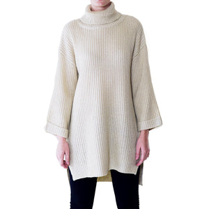 shop the woods Audrey and Olive chunky turtleneck cable knit oversized ivory white maternity
