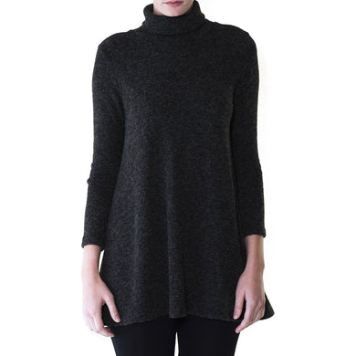 Audrey and Olive 3+1 maternity clothes turtleneck sweater dress a-line swing charcoal or red