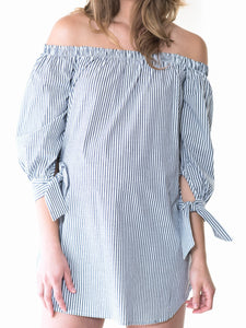 Off the Shoulder Striped Blouse
