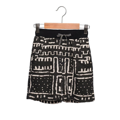 shop the woods wander and wonder black white sweat shorts tribal print africa girls boys