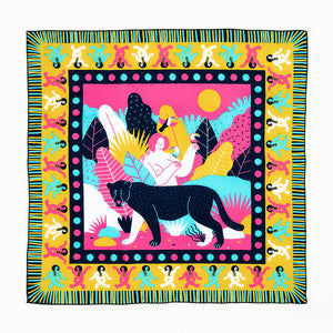 The Woods Bandits Bandanas organic gots cotton scarf sustainable fair trade india handmade baalam artist illustrat minerva gm mexico woman jaguar nature facemask