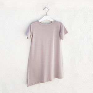 Shop The Woods Bash and Sass minimalist gender neutral childrens fashion clothes kids baby babies super soft asymmetric dress monster mocha mauve pink