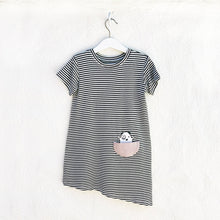 Shop The Woods Bash and Sass minimalist gender neutral childrens fashion clothes kids baby babies super soft asymmetric dress monster black white stripe