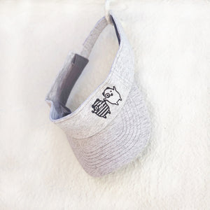 Shop The Woods Bash and Sass minimalist gender neutral unisex childrens fashion clothes kids baby babies super soft sun visor hat grey white embroidered